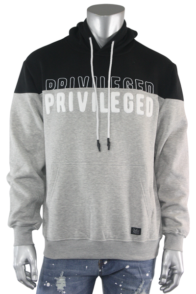 Chenille Embroidered Privileged Fleece Pullover Heather Grey (BF0574) - Zamage
