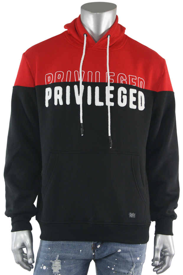 Chenille Embroidered Privileged Fleece Pullover Black (BF0574) - Zamage