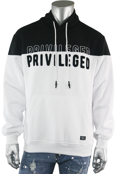 Chenille Embroidered Privileged Fleece Pullover White (BF0574) - Zamage