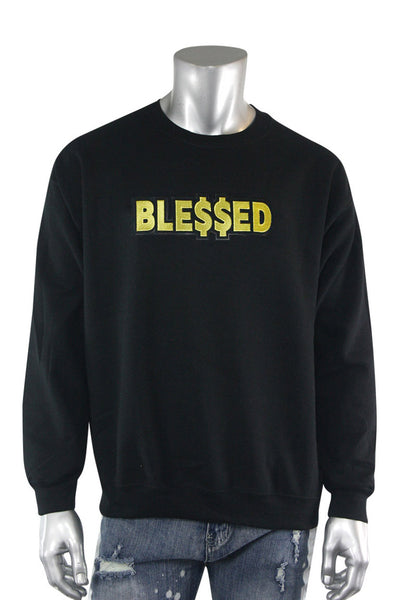 Blessed Gold Embroidered Fleece Crewneck Black (2282CFCN)