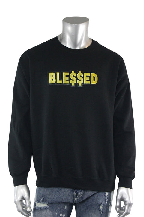 Blessed Gold Embroidered Fleece Crewneck Black (2282CFCN) - Zamage