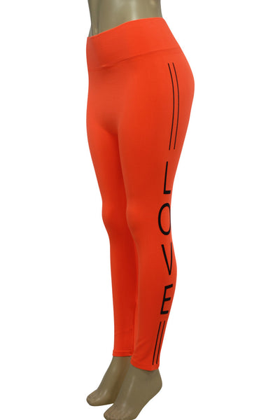 Women's Love Fashion Leggings Neon Orange - Black (CYCLE-101)