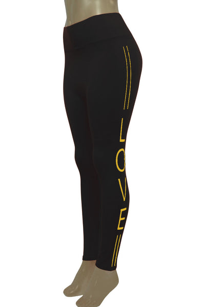 Women's Love Fashion Leggings Black - Gold Foil (CYCLE-101)