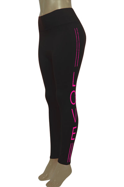 Women's Love Fashion Leggings Black - Neon Pink (CYCLE-101)