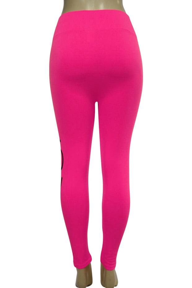 Women's Love Fashion Leggings Neon Pink - Black (CYCLE-101)