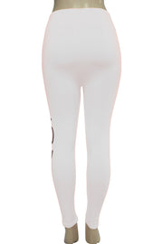 Women's Love Fashion Leggings White - Black (CYCLE-101)