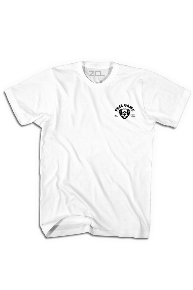 Embroidered ZCL Free Game Logo Tee White - Zamage