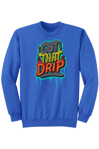 Got That Drip Fleece Crewneck Royal (DS6057) - Zamage