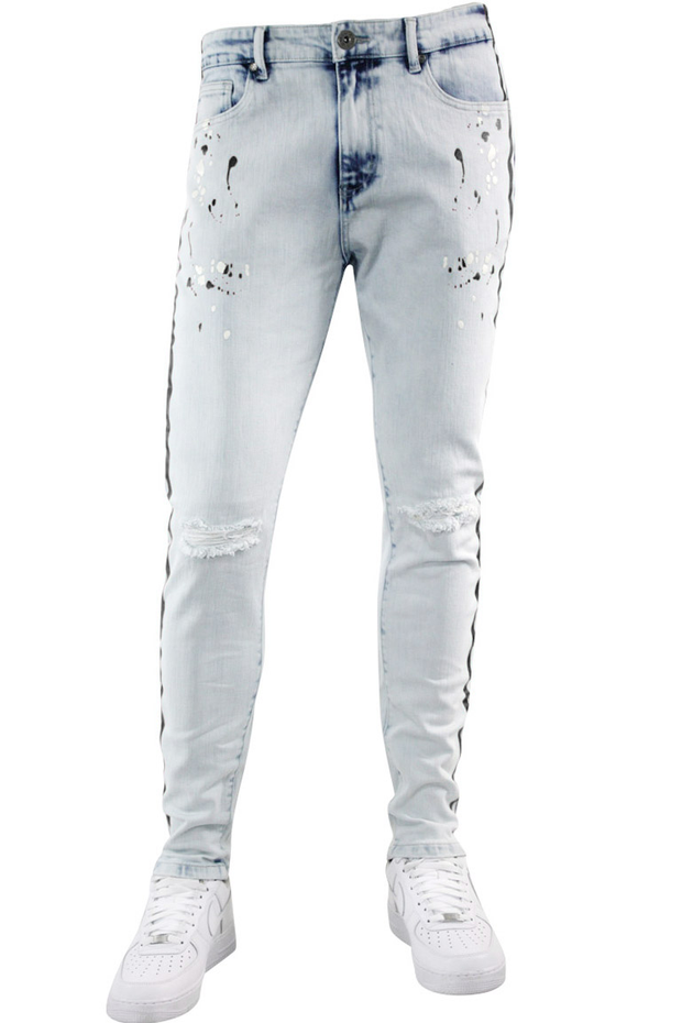 Side Stripe Paint Splatter Skinny Fit Denim Blue Wash - Black (HZW4772) - Zamage