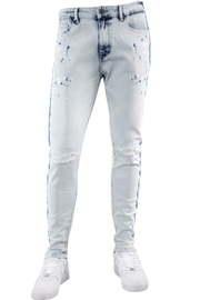 Side Stripe Paint Splatter Skinny Fit Denim Blue Wash - Royal (HZW4772) - Zamage