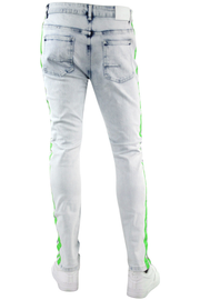 Side Stripe Paint Splatter Skinny Fit Denim Blue Wash - Neon Green (HZW4772) - Zamage