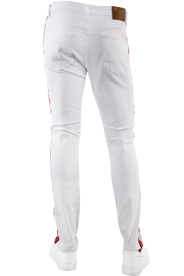 Reflective Side Tape Skinny Fit Denim White - Red (M4874R1T)