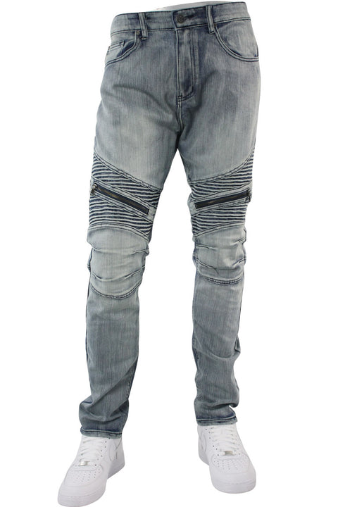 Premium Moto Slim Fit Denim Antique Blue (M4518D)