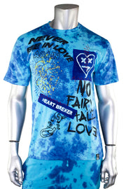 Tie Dye Heart Breaker Graphic Tee Blue (111-141) - Zamage
