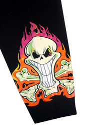 Fire Skull Print Skinny Fit Denim Black (ZCM4865T) - Zamage
