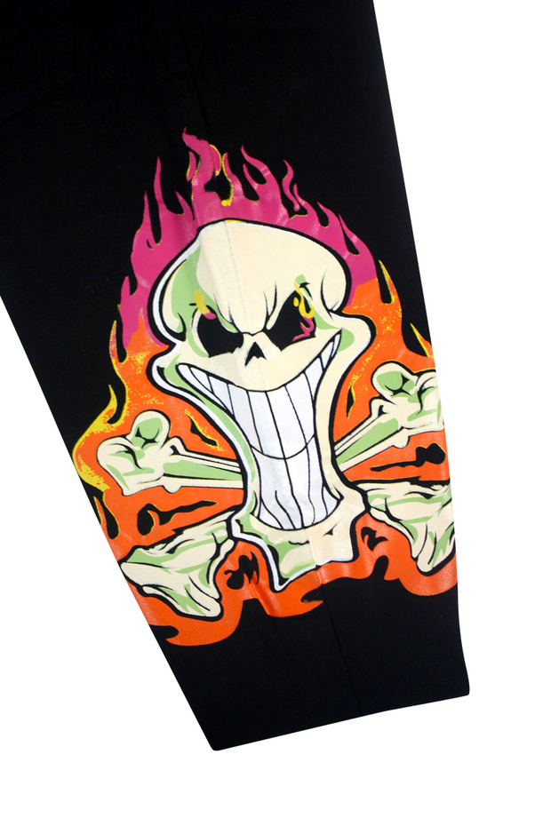 Fire Skull Print Skinny Fit Denim Black (M4865T)