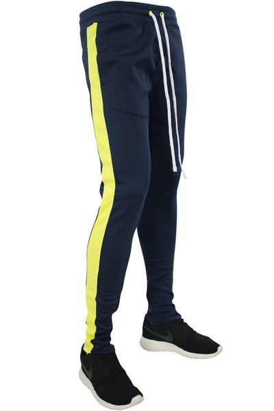 Side Stripe Track Pants Navy - Neon Yellow (1914)
