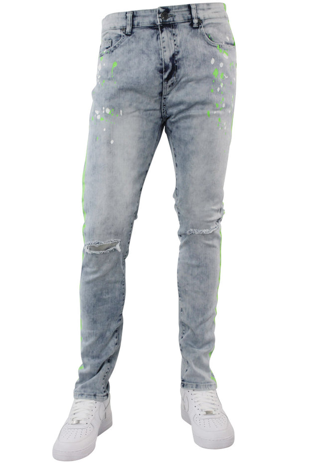 Neon Stripe Print Skinny Fit Track Denim Blue Wash - Green (M4701D)