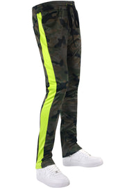 Allover Print Side Stripe Track Pants Woodland Lime (1A1-413)