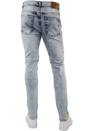 Neon Stripe Print Skinny Fit Track Denim Blue Wash - Green (M4701D) - Zamage