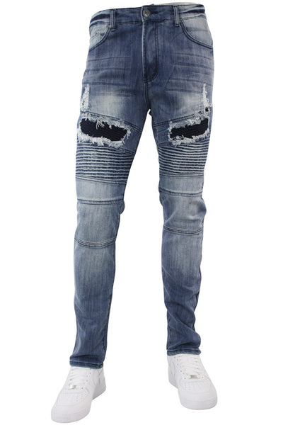 Jordan Craig Fashion Moto Denim Shorts Destroyed Blue (J500S)