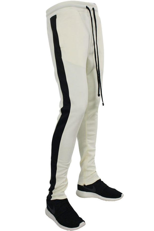 Solid One Stripe Track Pants Cream - Black (100-402)