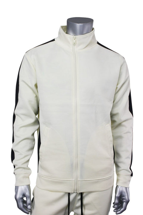 Solid One Stripe Track Jacket Cream - Black (100-502)