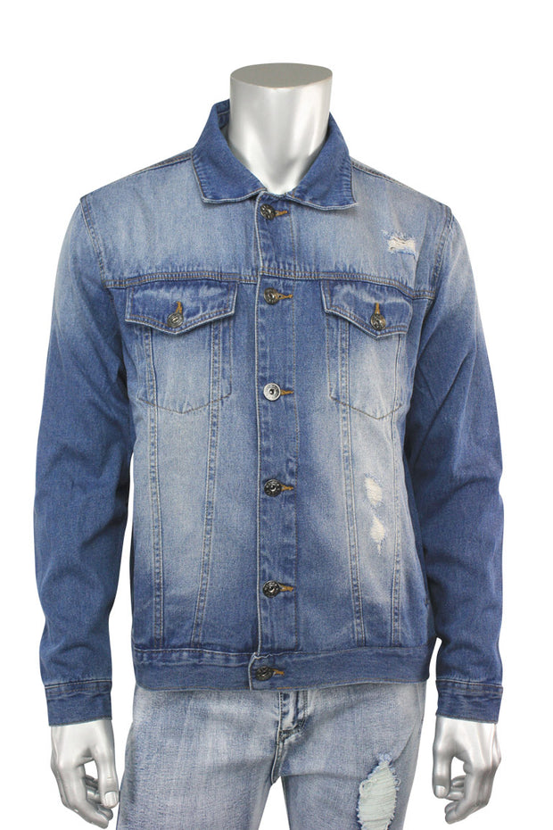 Destroyed Denim Jacket Vintage Wash (M6010D 22S) - Zamage