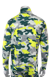 Allover Print Side Stripe Track Jacket Lime Camo (1A1-513)