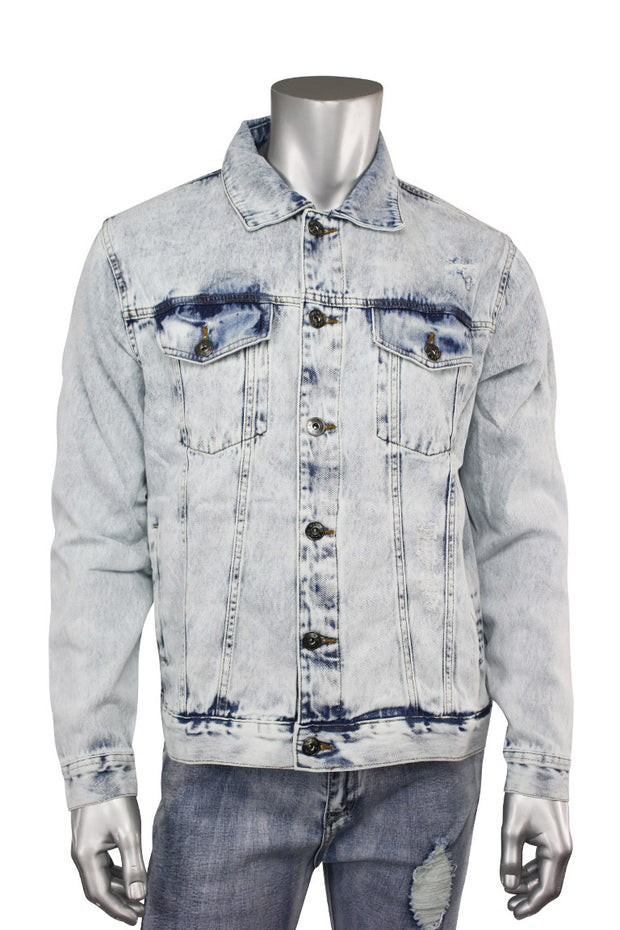 Destroyed Denim Jacket Bleach Wash (M6010D) - Zamage