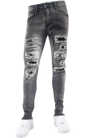 Studded Backin Ripped Skinny Fit Denim Grey Bleach Wash (M4963D)