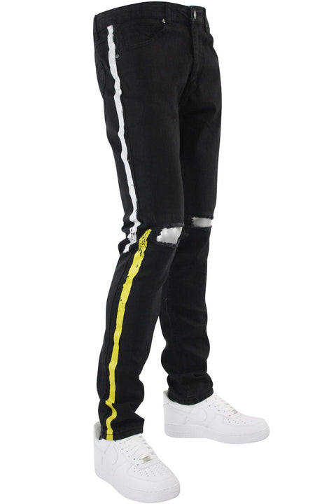 Painted Side Stripe Denim Track Pants Black - White - Yellow (M4695D) - Zamage