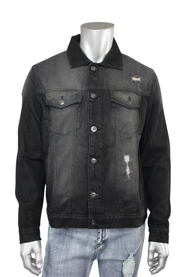 Destroyed Denim Jacket Black (M6010D 22S) - Zamage