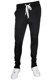 Premium One Stripe Zip Track Pants Black - White (ZCM4008) - Zamage