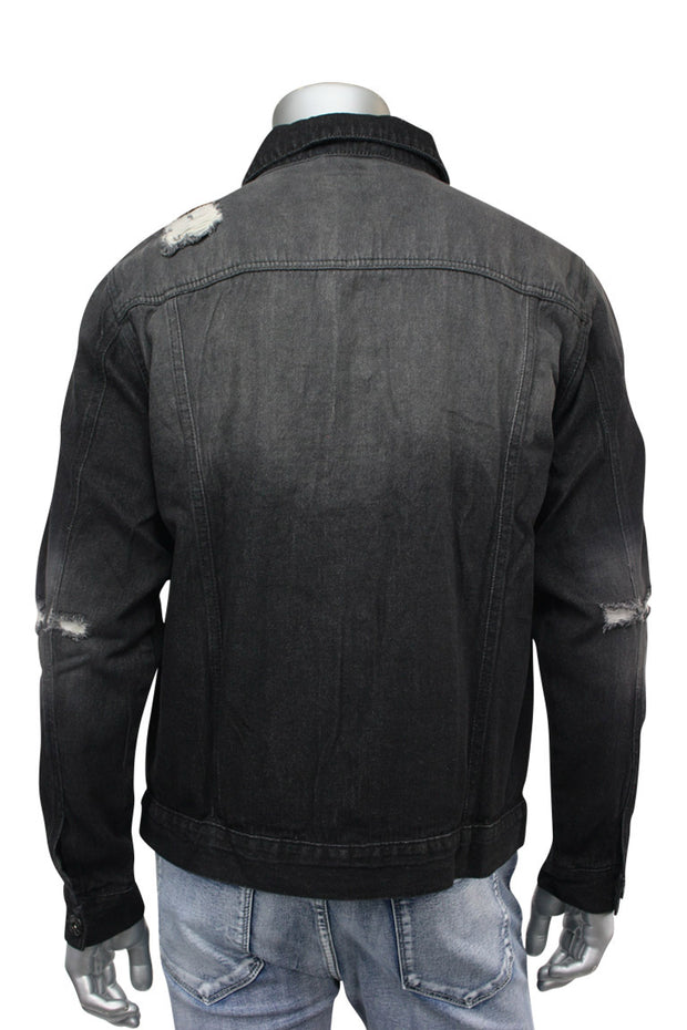 Destroyed Denim Jacket Black (M6010D) - Zamage