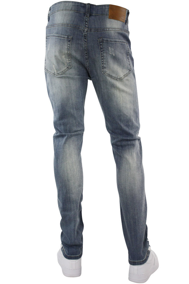 Destructed Knee Slim Fit Denim Medium Antique (M4623D) - Zamage