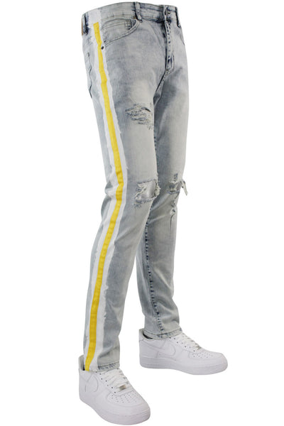 Athletic Stripe Slim Fit Denim Snow Gold (M4700D) - Zamage
