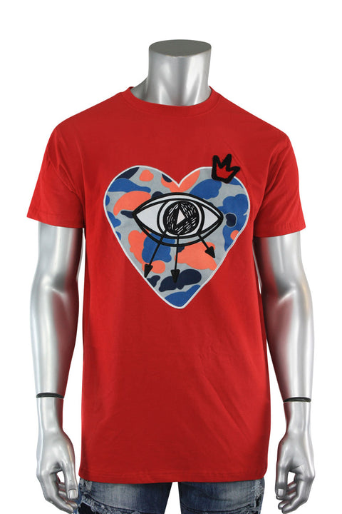 Embroidered Heart Tee Red (TP937) - Zamage