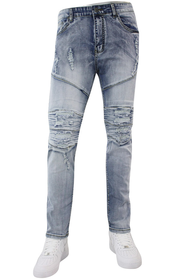 Premium Patched Slim Fit Denim Light Indigo Brush (M4661D)