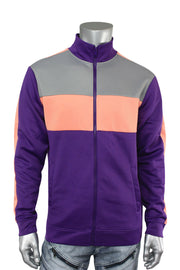 Color Block Track Jacket Purple - Pink (1915) - Zamage