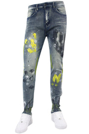 Faded Paint Splatter Skinny Fit Denim Dirty Vintage (M4891D)