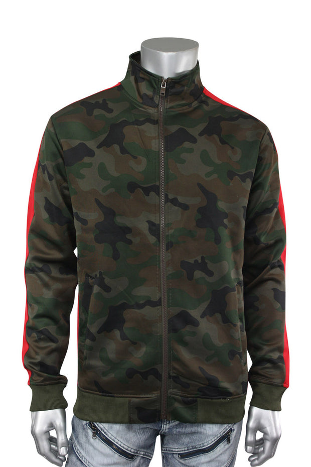 Side Stripe Camo Track Jacket Woodland - Red (1915)