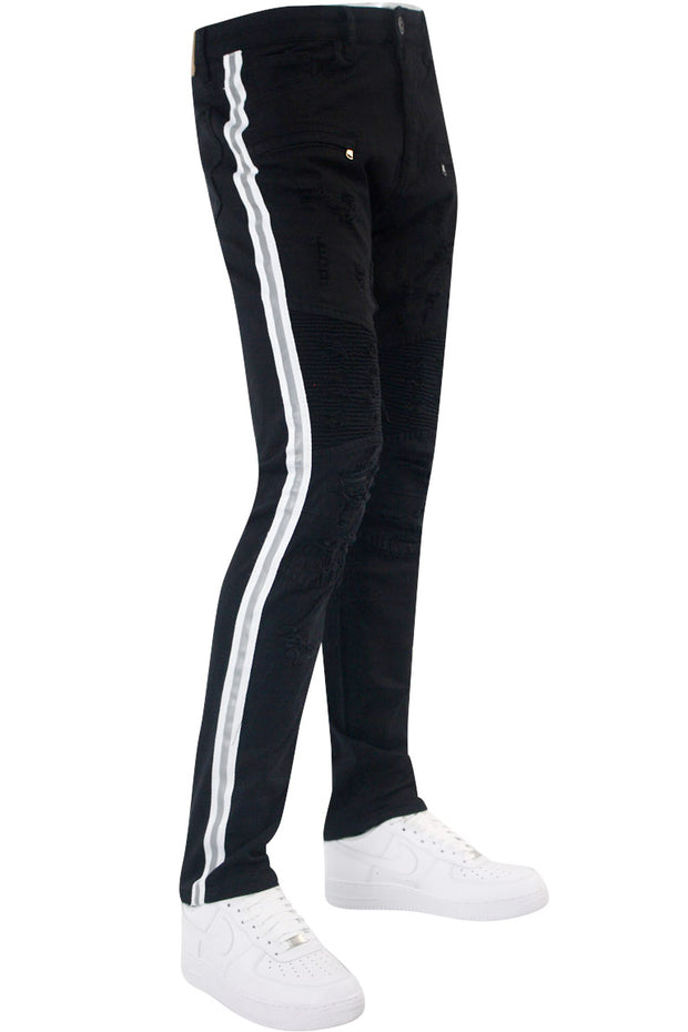Triple Stripe Reflective Skinny Fit Denim Black - White (M4874R1TA)