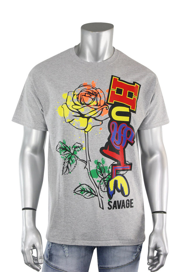 Hustle Rose Tee Heather Grey (9068) - Zamage