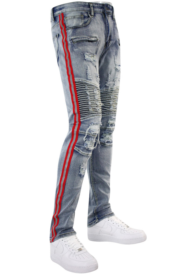 Triple Stripe Reflective Skinny Fit Denim Light Indigo - Red (M4874R1D) - Zamage