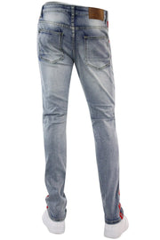 Triple Stripe Skinny Fit Denim Light Indigo - Red (ZCM4874R1D) - Zamage