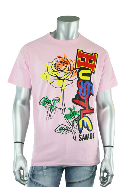 Hustle Rose Tee Light Pink (9068) - Zamage