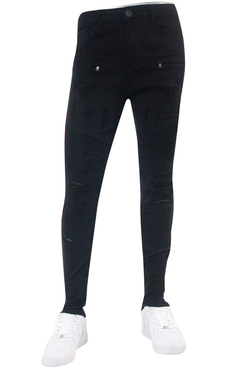 Triple Stripe Reflective Skinny Fit Denim Black - Red (M4874R1TA)