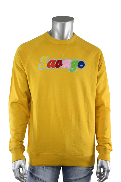 Embroidered Chenille Savage French Terry Crewneck Mustard (1001CH) - Zamage