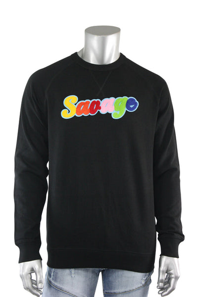 Embroidered Chenille Savage French Terry Crewneck Black (1001CH) - Zamage